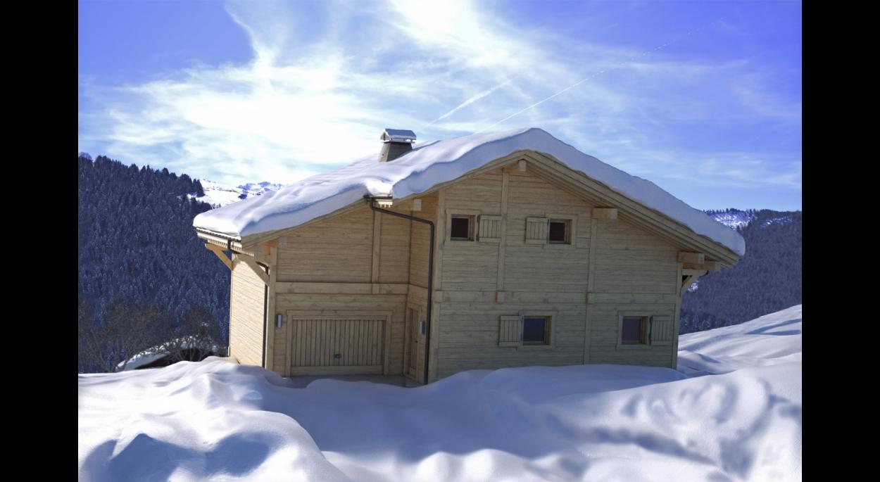Conception d'un chalet dans la station de ski du Grand Bornand (Haute-Savoie). Vue Nord.