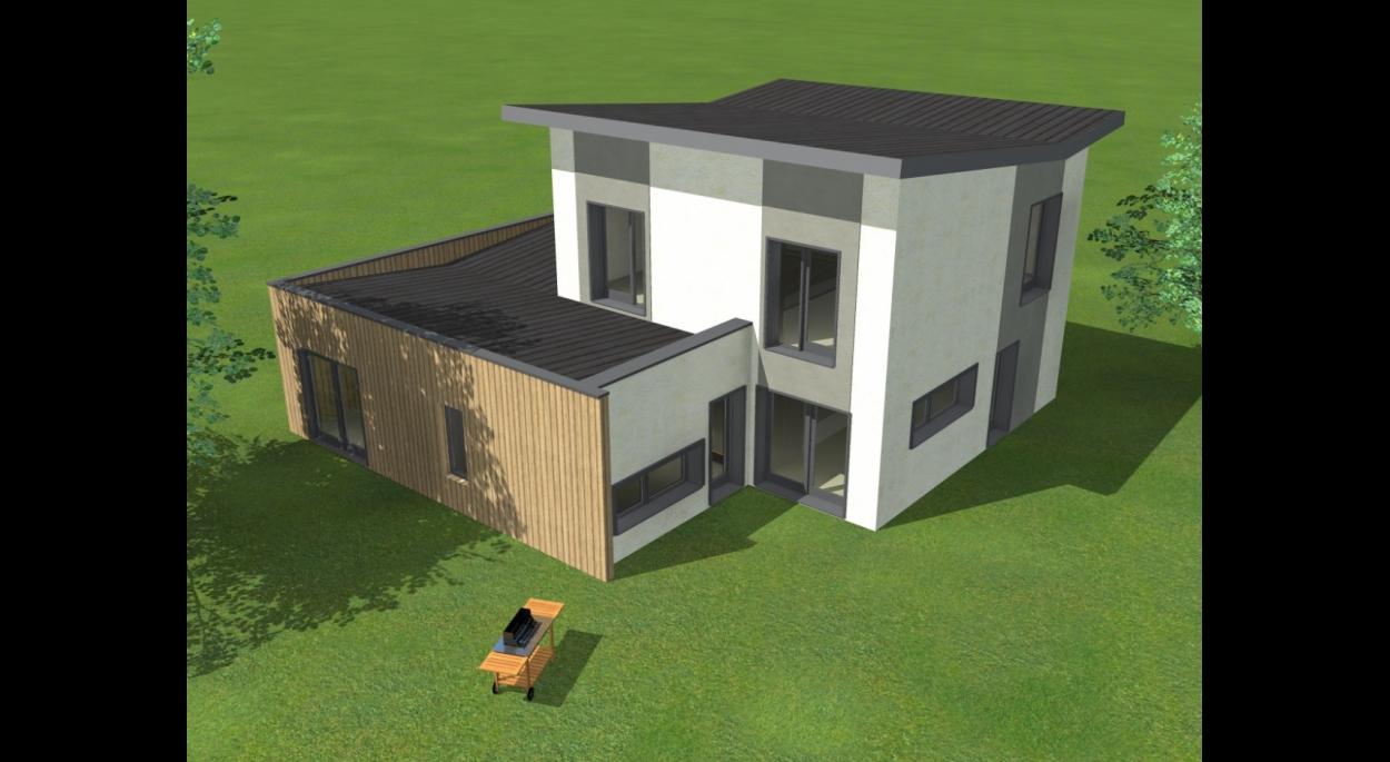 Villa VE - Perspective aérienne sur terrasse