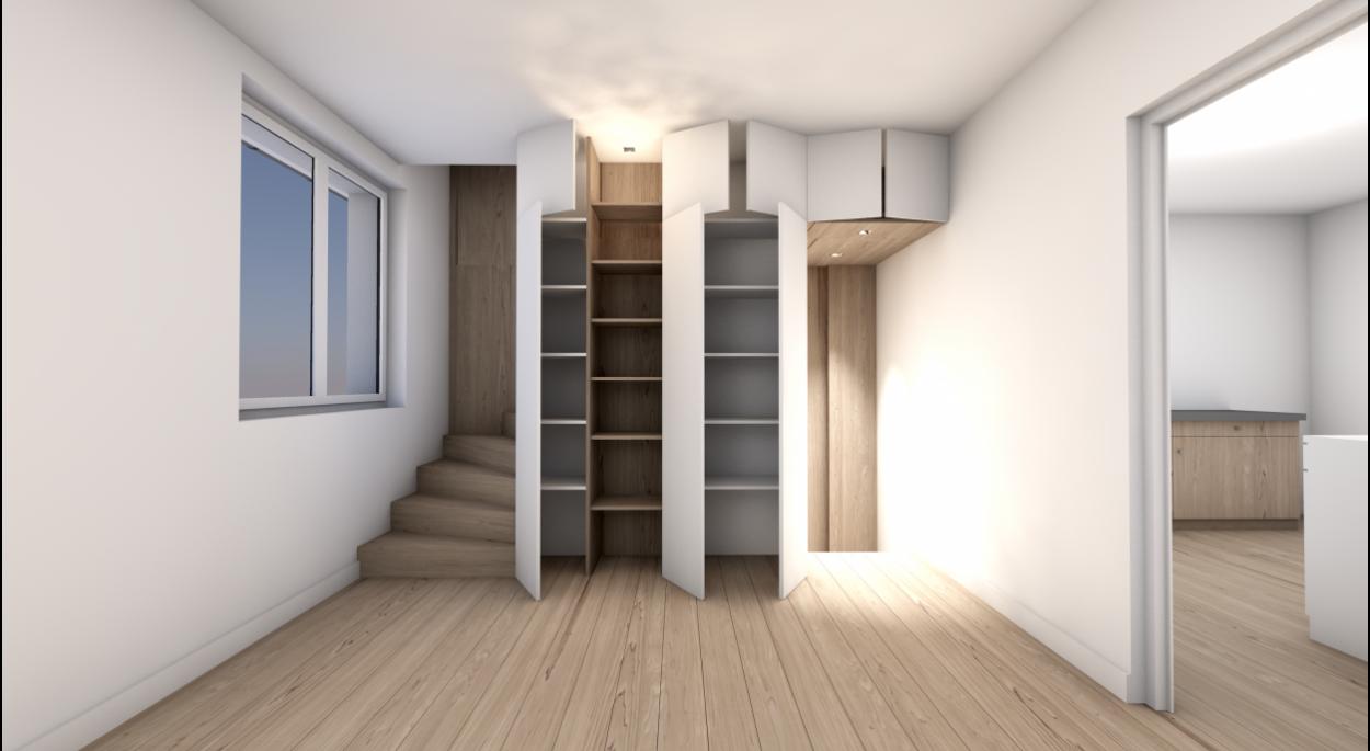 Création d'un escalier et de mobilier intégré