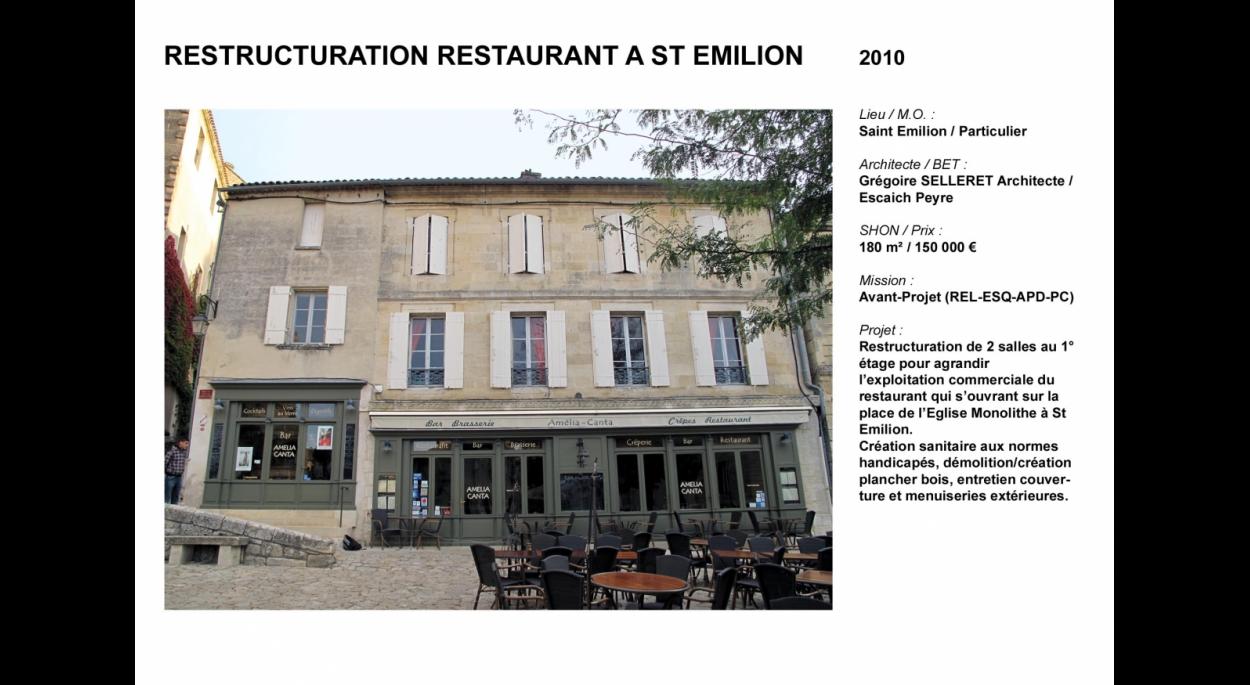 Restructuration restaurant St Emilion