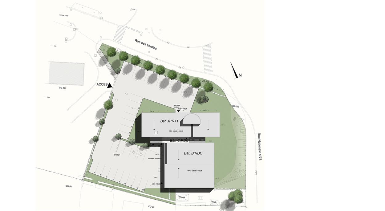 Laboratoire Bioexcel à Saint-Doulchard (18) / Plan masse