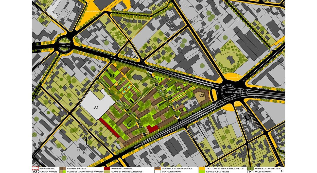 Eco Quartier Centre Sainte Geneviève plan de la ZAC