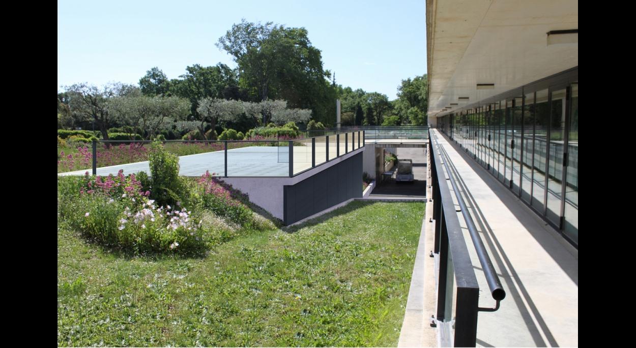 La toiture aménagée en terrasse prolonge l'esplanade du musée.