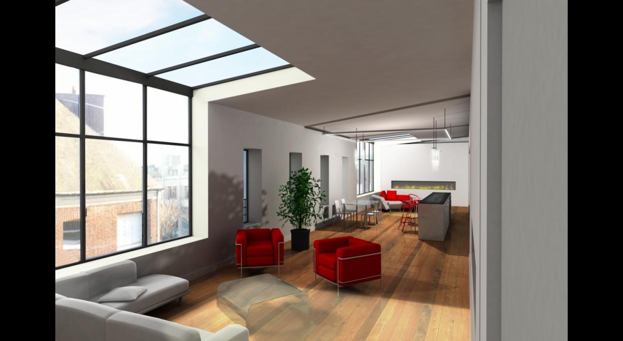 Loft créé en R+2 de la surélévation d'un immeuble