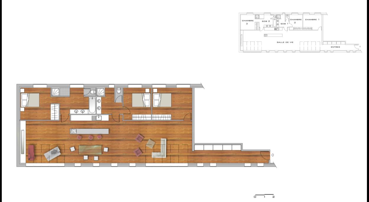 Plan d'aménagement du loft