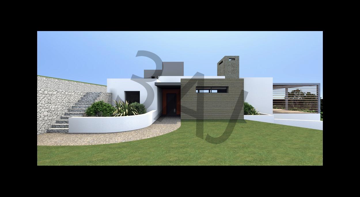 Villa M02 - Vue sur l'entrée - PROJET - Lascours 13360 ROQUEVAIRE