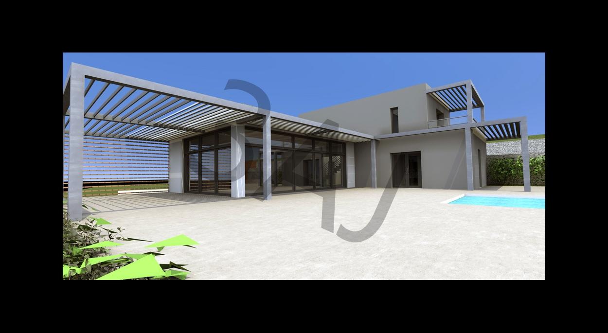 Villa M02 - Vue terrasse - PROJET - Lascours 13360 ROQUEVAIRE