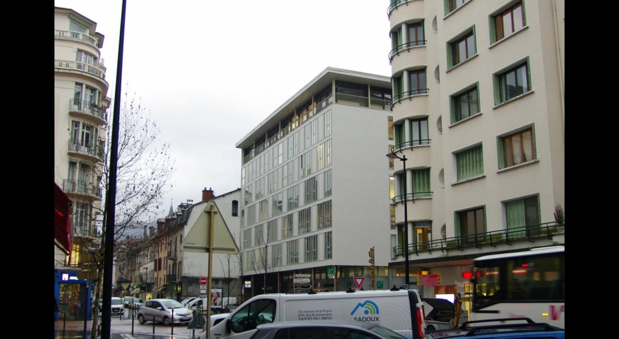 Maison des entreprises / Façade Nord pendant travaux (avancement 80%)