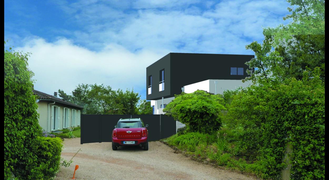 Projet de maison individuelle contemporaine avec piscine intérieure et aménagements extérieurs sur un terrain contraint