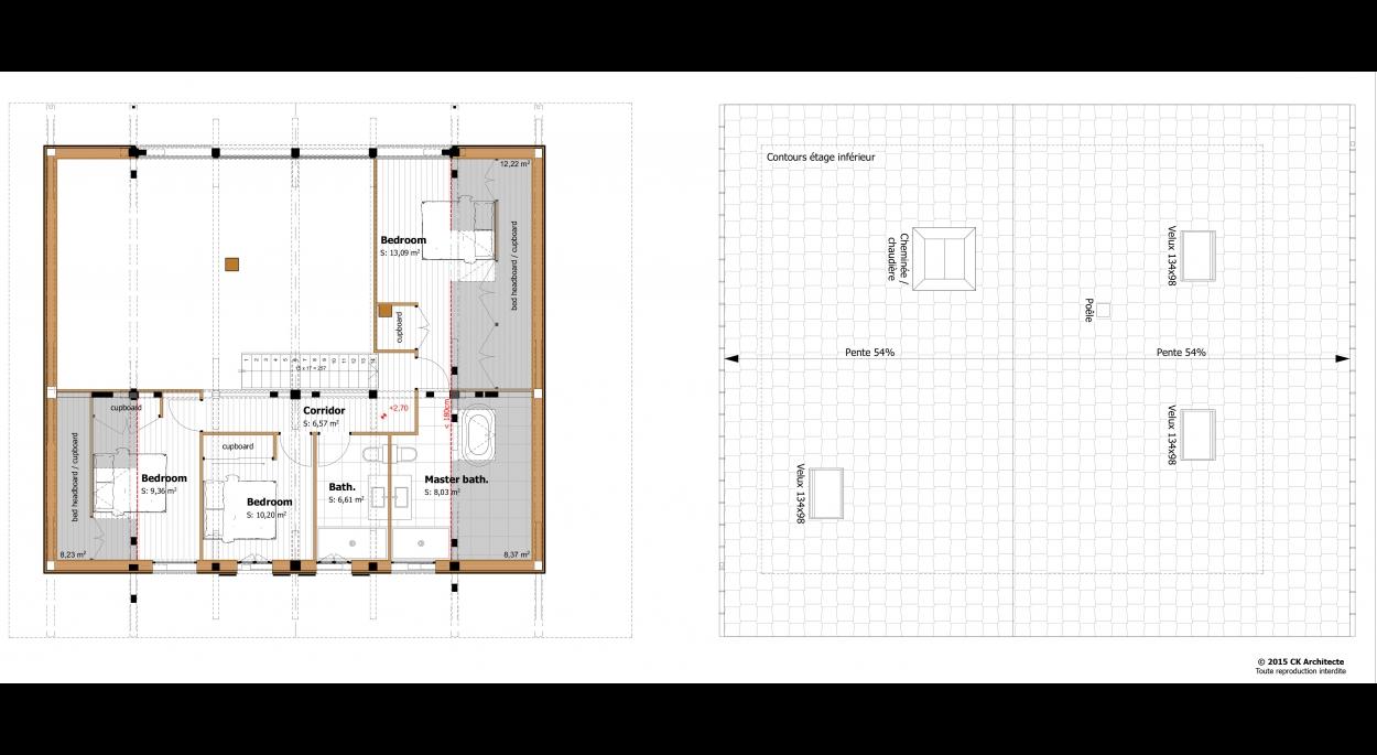 Plan de l'étage et de la toiture