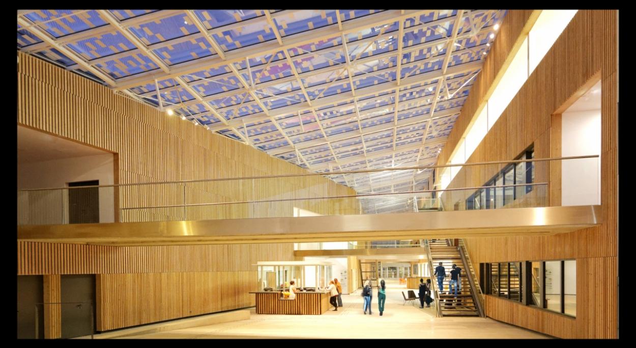 Le projet architectural est à la hauteur des ambitions du groupe ESC Troyes. La façade monumentale crée une fenêtre urbaine qui révèle la grande galerie, point structurant du projet. L'école se révèle comme un grand projet unitaire dont la peau...