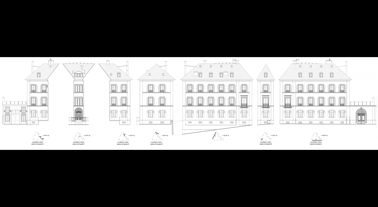 RELEVES DE FACADES - RUE MARTIN BUCER - STRASBOURG