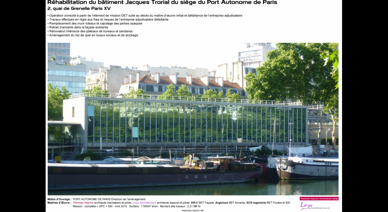 BATIMENT JACQUES TRORIAL PORT AUTONOME DE PARIS