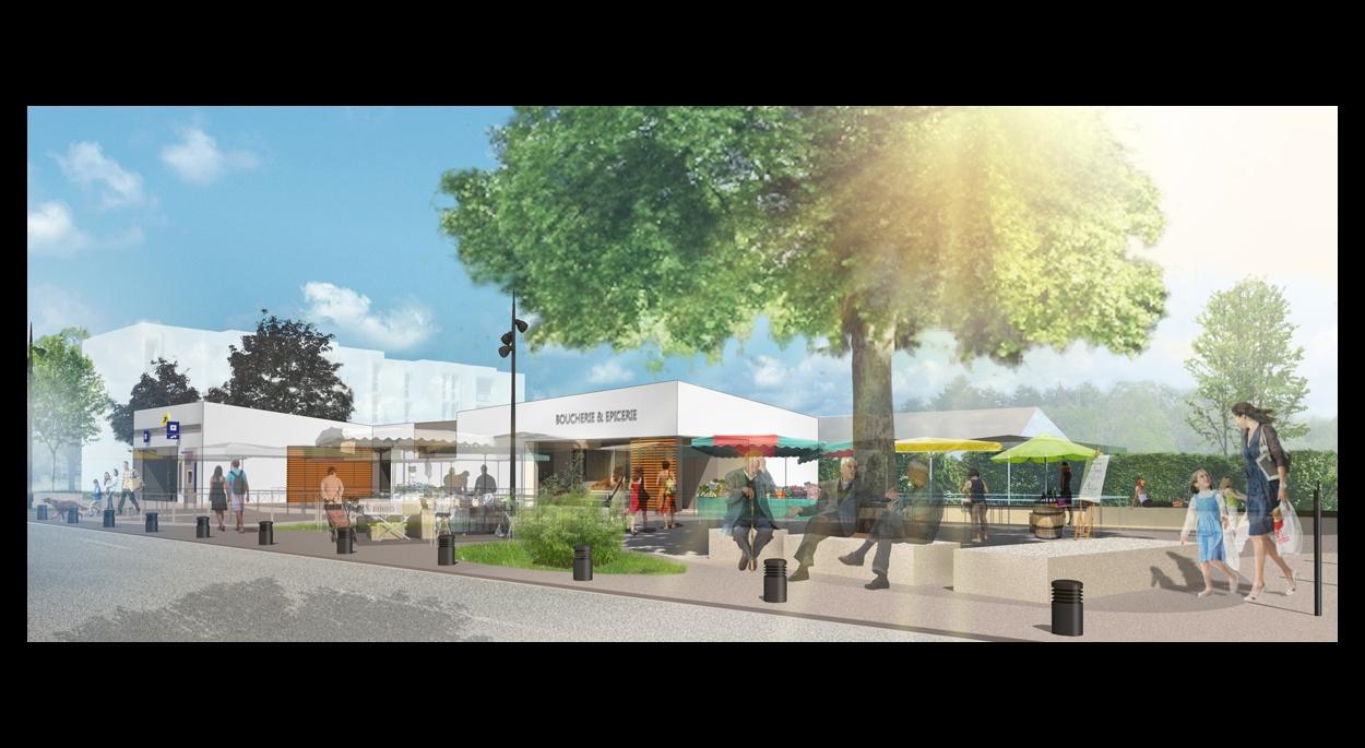 Place de Basseau - vue de la place jour de marché