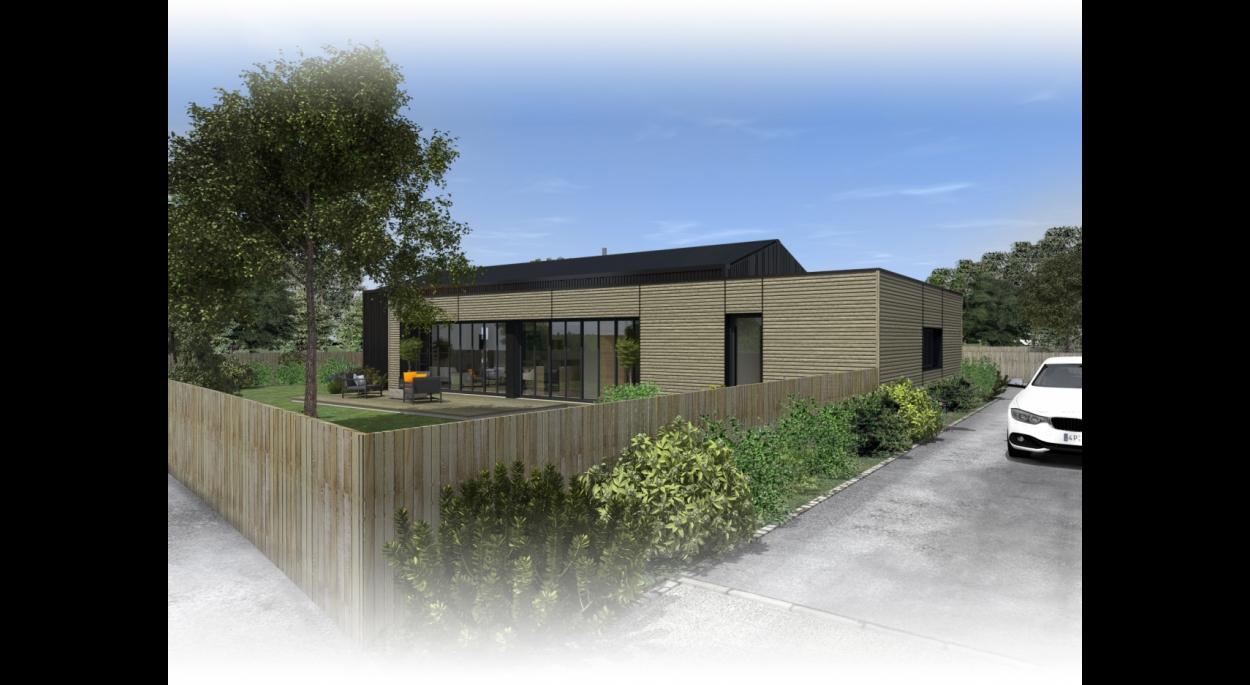 Construction d'une maison ossature bois à la Chevrolière. architecte : Atelier14 Clisson