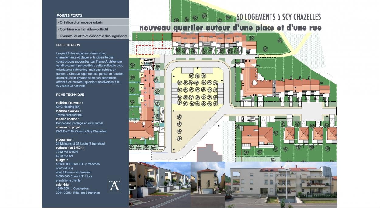 Plan d'ensemble pour 60 logements individuels et collectifs, conçu à partir du cahier des charges établi par l'AGURAM