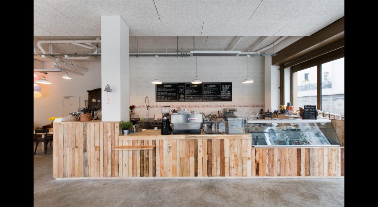 cantine, aménagement, restaurant, comptoir, cuisine, palette, recyclage