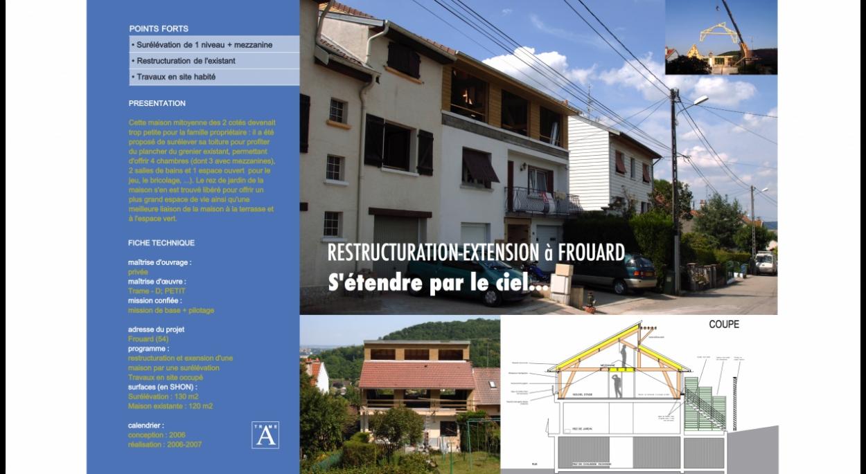 Surélévation en bois d'une maison particulière avec restructuration de l'existant