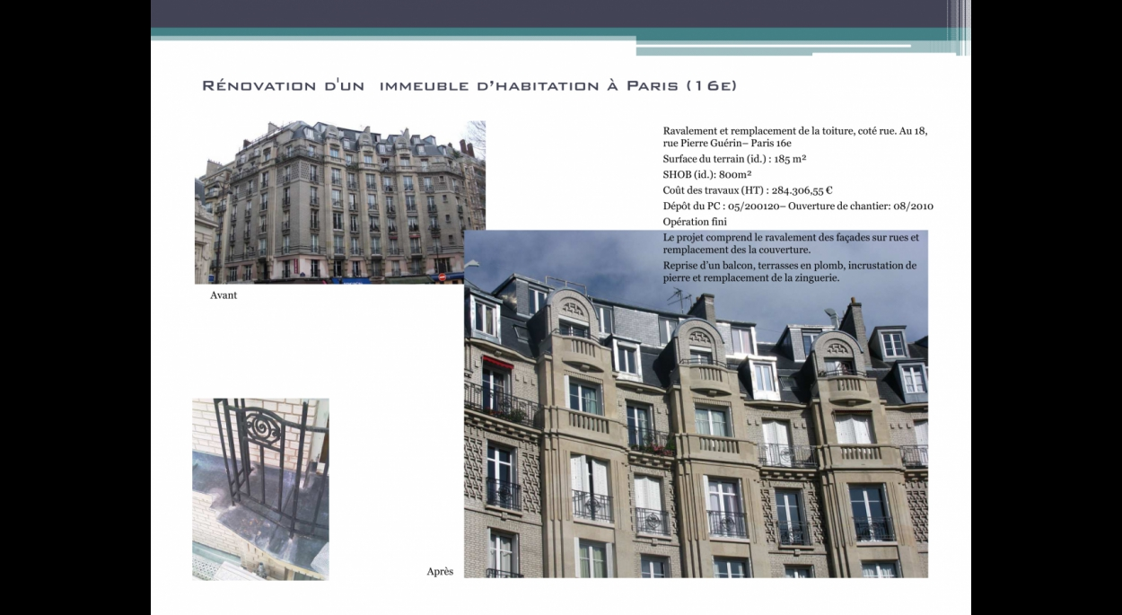 Architecte, Paris, Ravalement