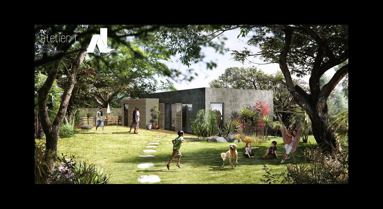 Maison bois et béton dans la pente, jardin nord