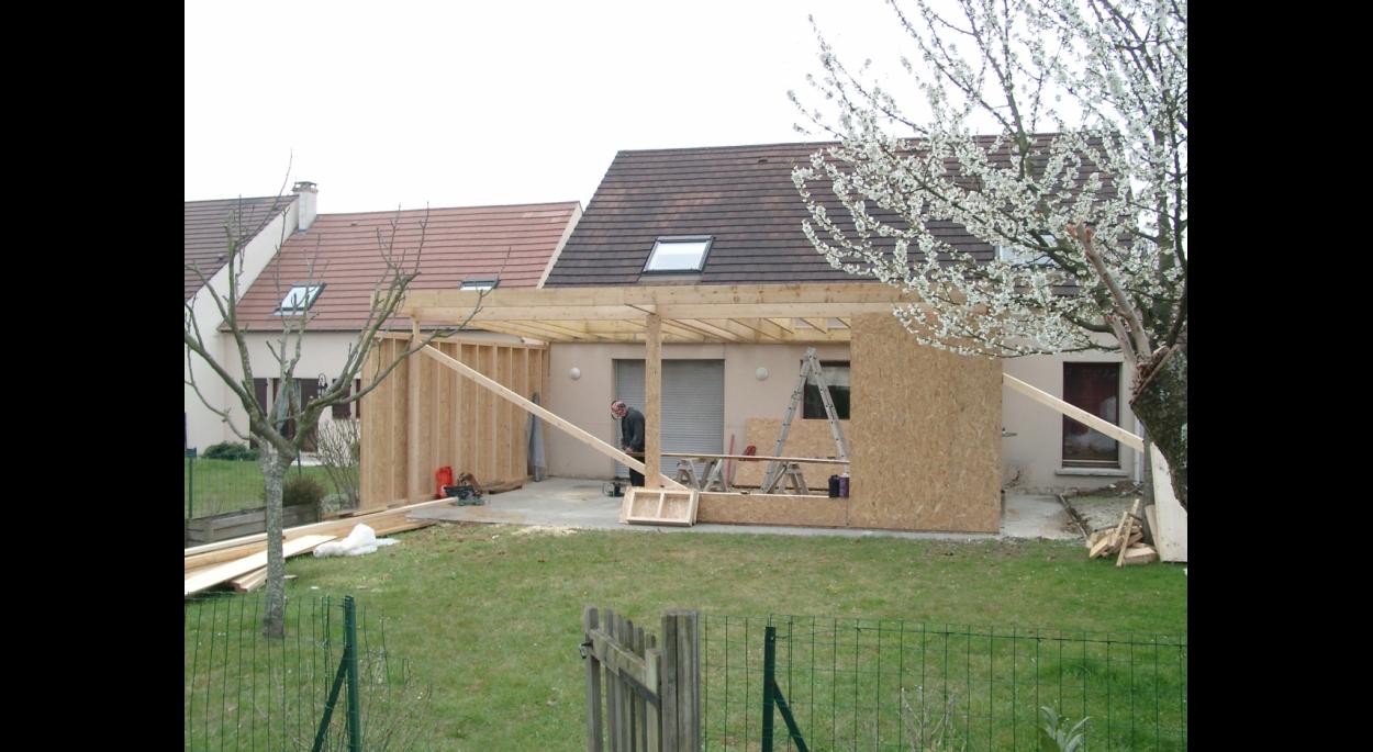 Extension à ST-THIBAULT, Réalisation de l'ossature bois