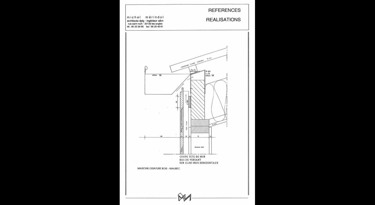 Détail coupe jonction mur/toiture