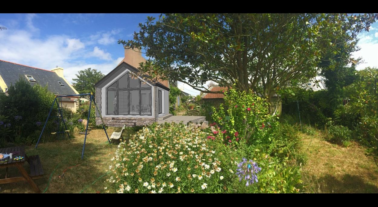Extension à Groix: cabane contemporaine dans le jardin, belvédère vitré au milieu des fleurs...