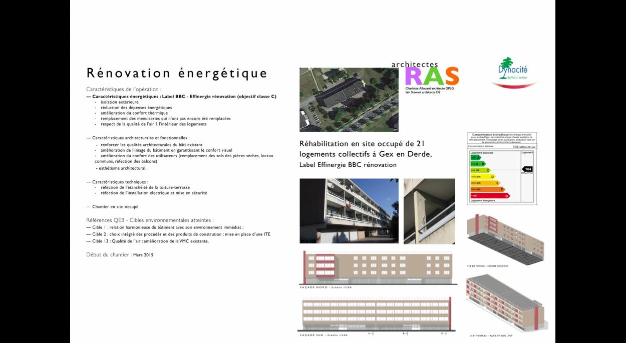 L'immeuble 207-209 rue Georges-Charpak est une barre de 54 par 14 mètres et 11 mètres haut, qui s'articule autour de deux cages d'escalier qui desservent 21 logements sur trois niveaux sans ascenseur, sur un rez-de-chaussée composé de 21 garages individuels, une chaufferie, les deux entrées et des locaux associatifs et techniques. Il s'agit de valoriser l'aspect extérieur de l'immeuble et d'améliorer la qualité des logements pour mieux répondre aux besoins des habitants.  Objectifs architecturaux et fonctio