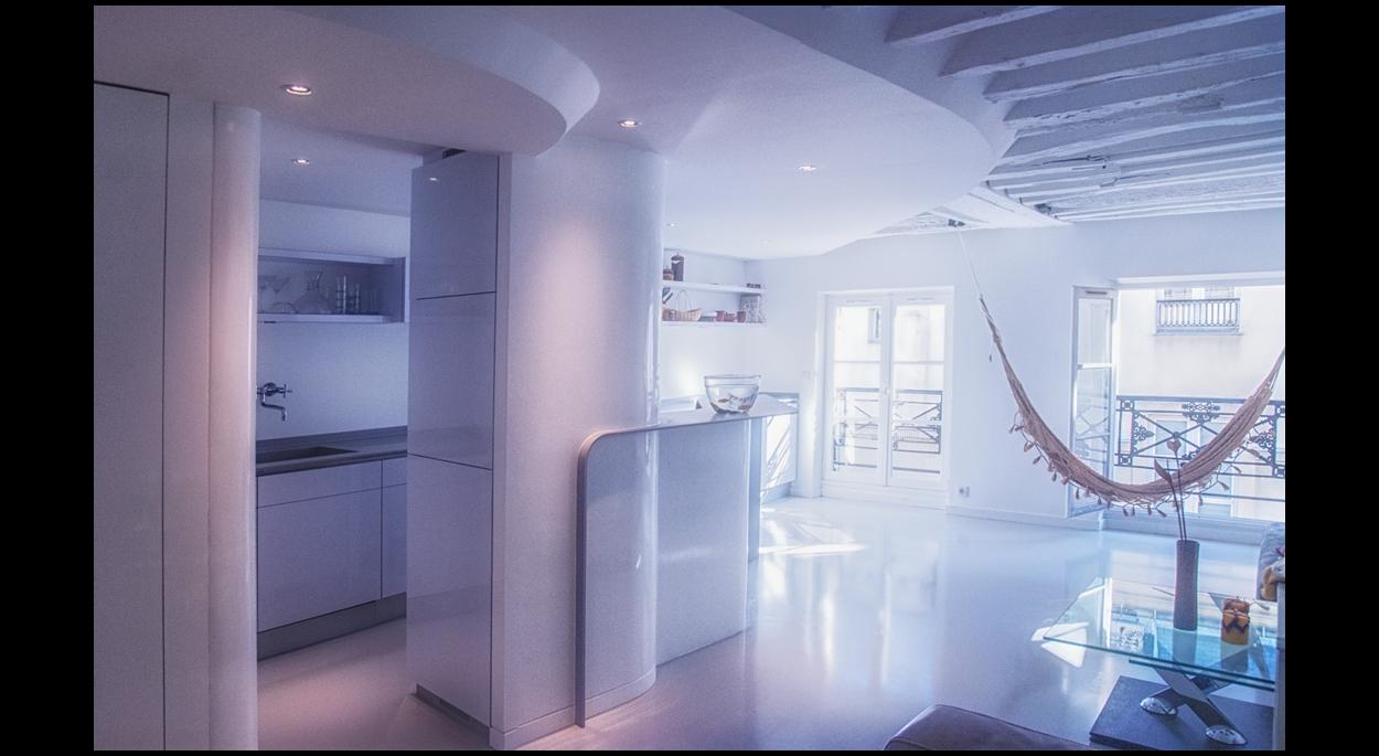 Rénovation complète d'un appartement dans le Marais à Paris - Depuis l'entrée