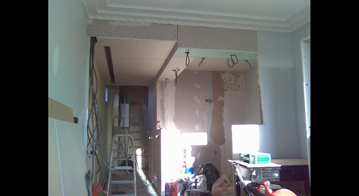 Vue de l'entrée depuis le salon - pendant les travaux