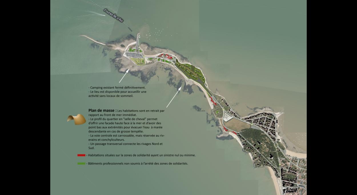Plan de masse du projet de requalification du quartier sinistré