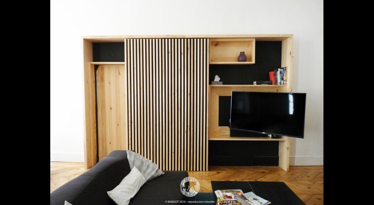 Meuble TV bibliothèque -  crédit photo MAGOT