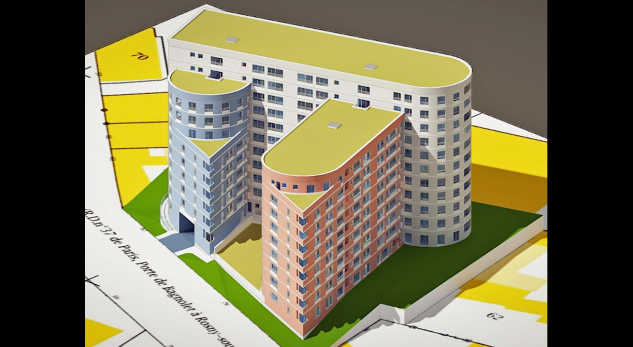 MALAMUCEANU - BAGNOLET : 160 appartements - Etude de faisabilité - Axonomètrie