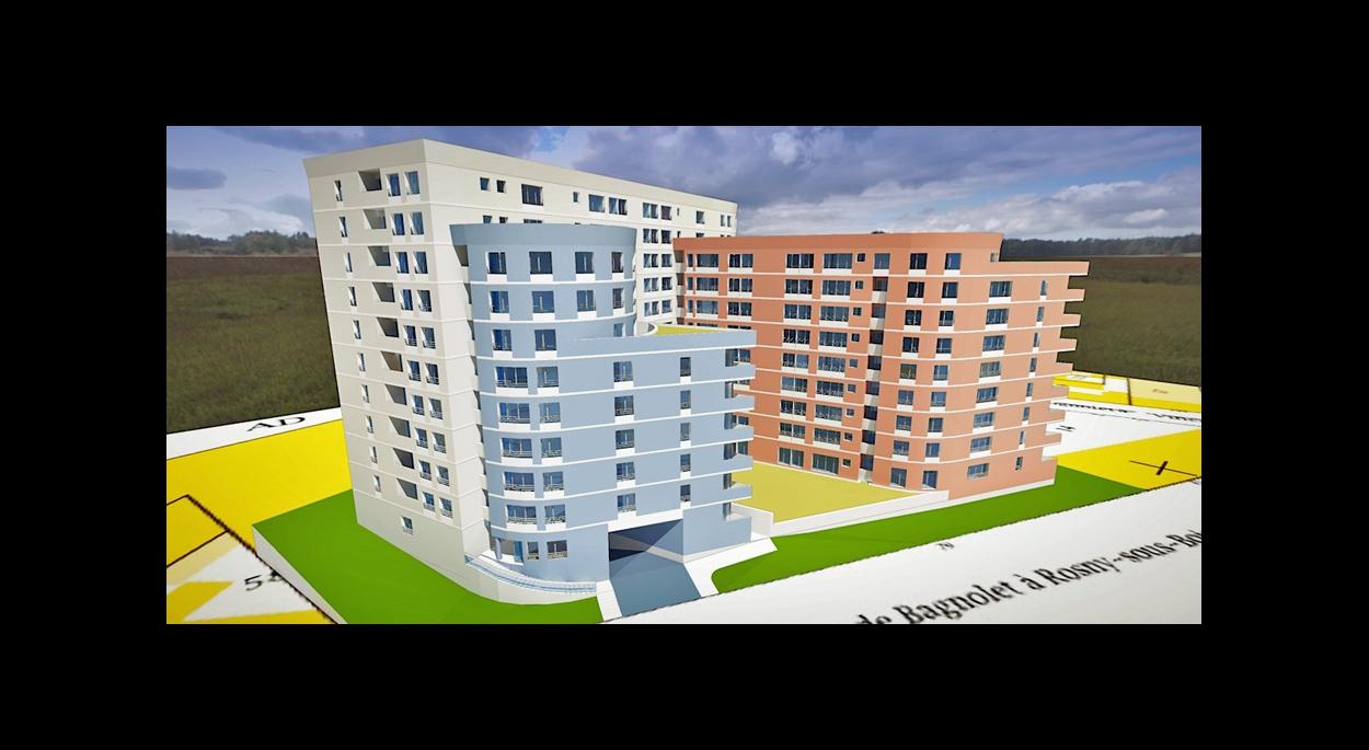 MALAMUCEANU - BAGNOLET : 160 appartements - Etude de faisabilité - Perspective
