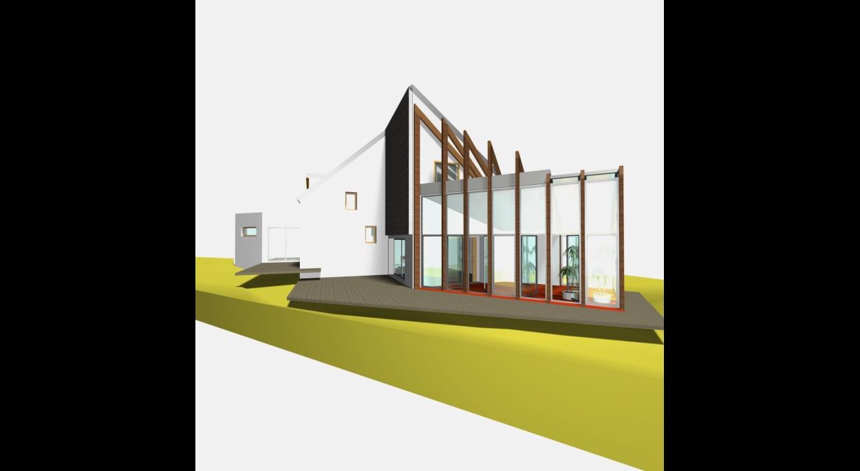 Extension bois - Système poteaux /poutres - Vue d'ensemble de la maquette numérique