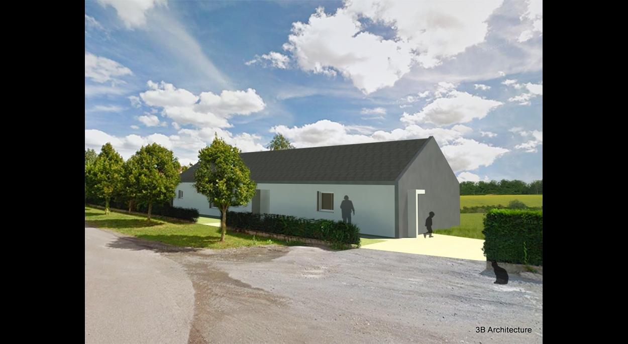 Construction d'une maison individuelle contemporaine en milieu rural. Volumétrie minimaliste et budget maîtrisé pour des espaces de qualité