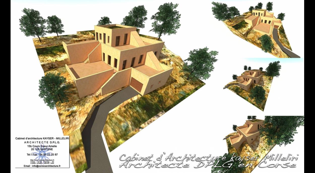 Projet d'architecture contemporaine imaginé en pisé ( béton terre comprimée de tuf ) dans la région de Balagne ( près de Calvi ) en Corse sur plusieurs niveaux d'altimétrie.  Le pisé est un procédé de construction de murs en terre crue, compactée dans un coffrage en couches successives à l'aide d'un pilon.  Nous nous servons içi de tuf local.  Projet d'Architecture Contemporain BBC Bio Climatique RT 2012 en Corse par le Cabinet d'Architecte Kayser Milleliri, Architecte DPLG en Corse