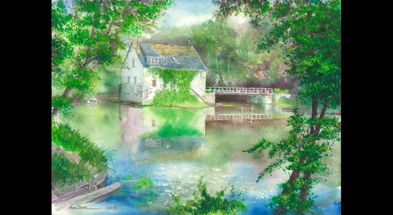 Rémi TURC architecte Château-Thierry Reims Épernay – aquarelle 2016 Saché, le Moulin Rouge sur l'Indre