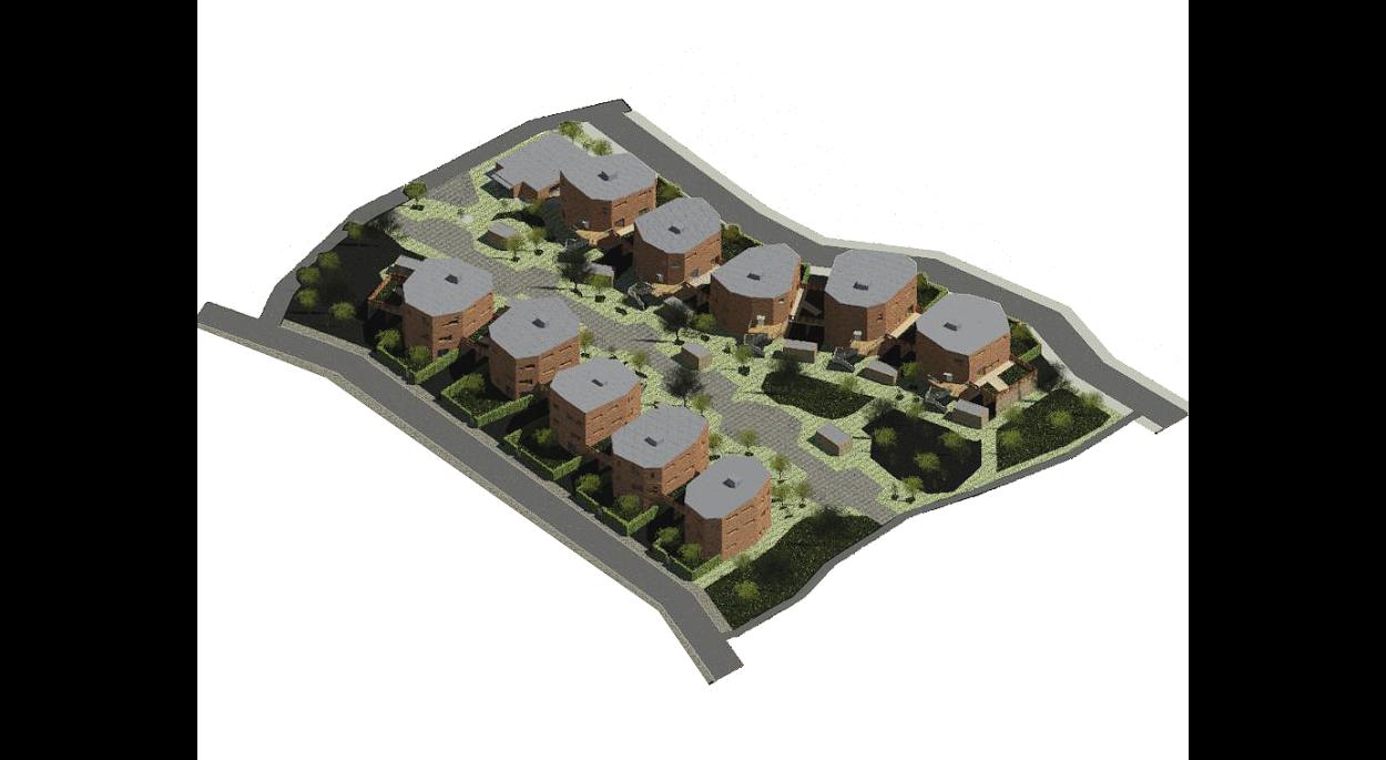 Maquette numérique qui montre une vue tridimensionnelle sur l'ensemble des logements intermédiaires