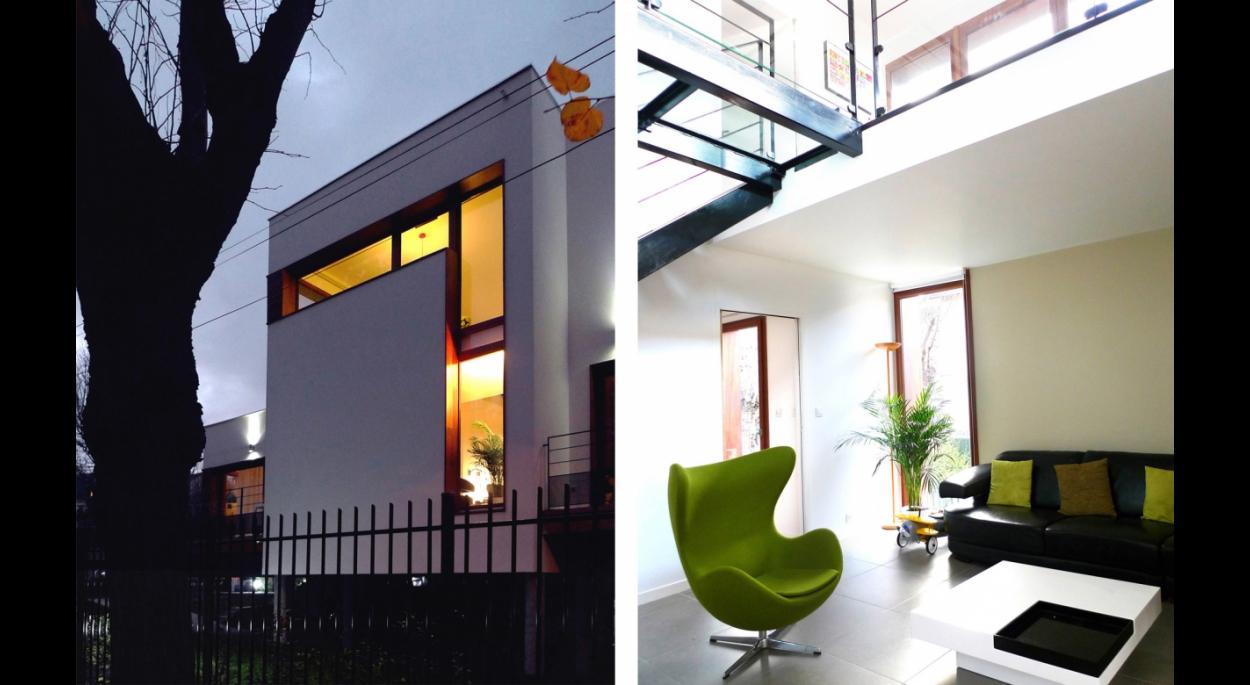 Dx architectures, Pierre Degageux, logement individuel neuf, pilotis, toiture végétalisée, RT 2015, terrasse bois, coursive, fenêtres bois, intérieur design, cheminée