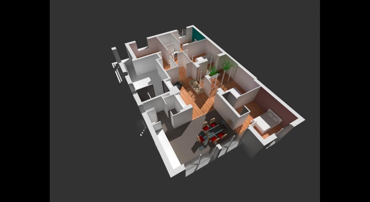 Aménagement intérieur avec patio
