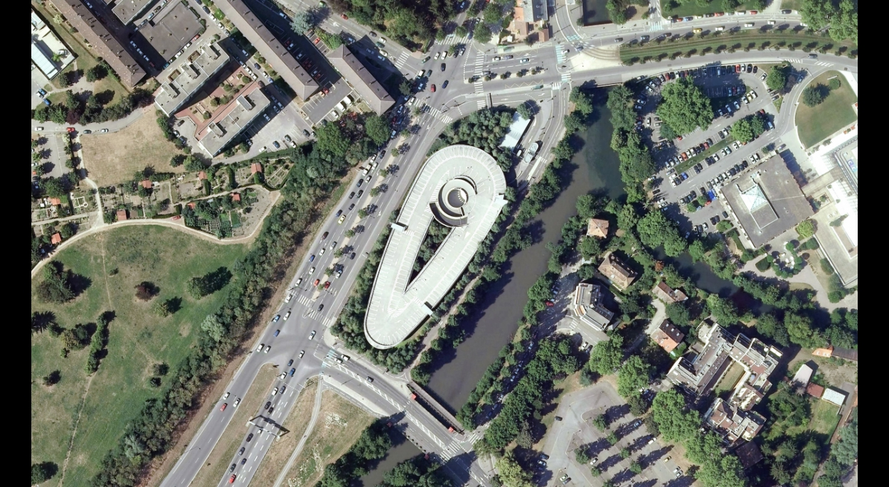 Vue aérienne du parking