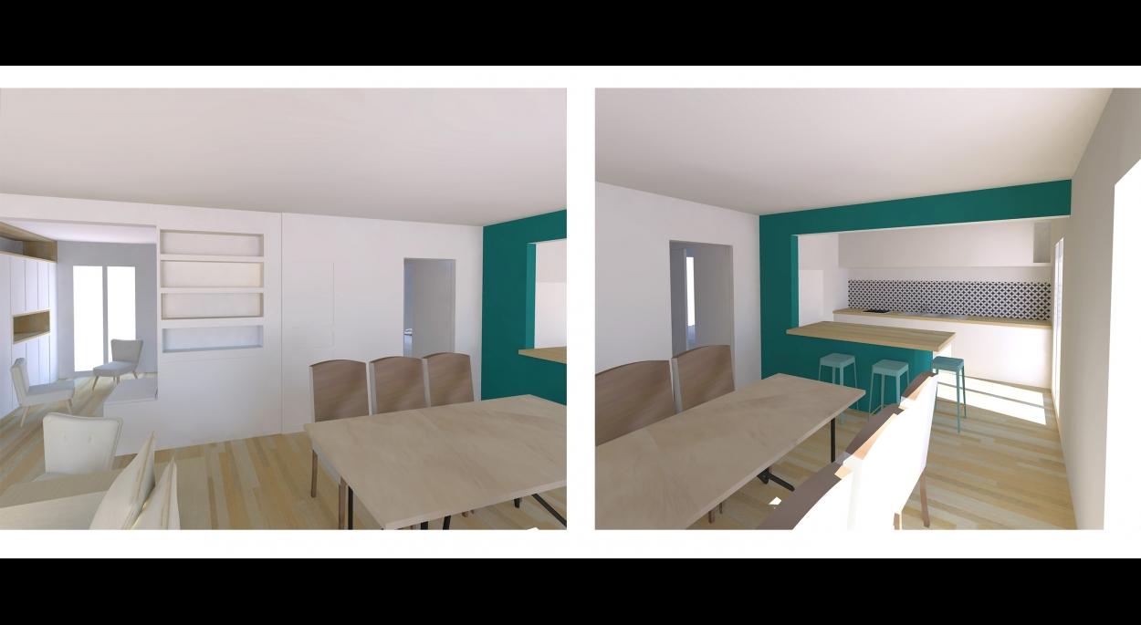 Redonner une cohérence aux pièces de vie - ouverture sur la cuisine - modernisation de l'espace - venez voir la suite sur www.atelierbplus.fr !