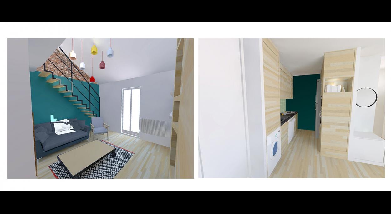 Réaménagement des pièces à vivre d'un appartement de 70.5m² - venez voir la suite sur www.atelierbplus.fr !