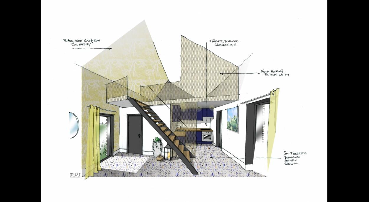 Meej Architecture / Studio d'invités vue intérieure