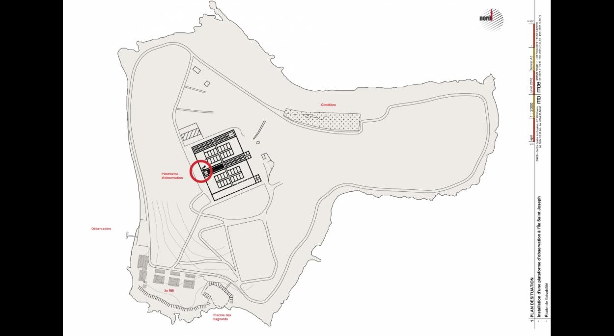 Plan de situation sur l'ile Saint Joseph