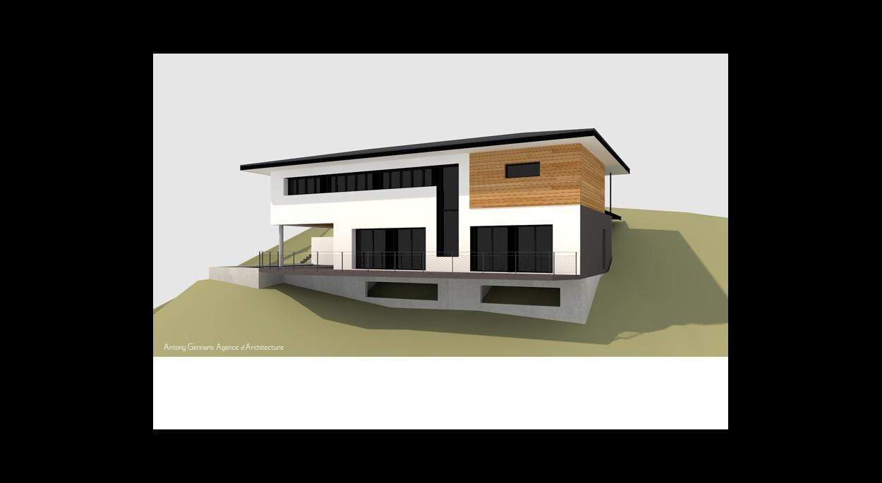 Maison dans la pente, structure bois/béton