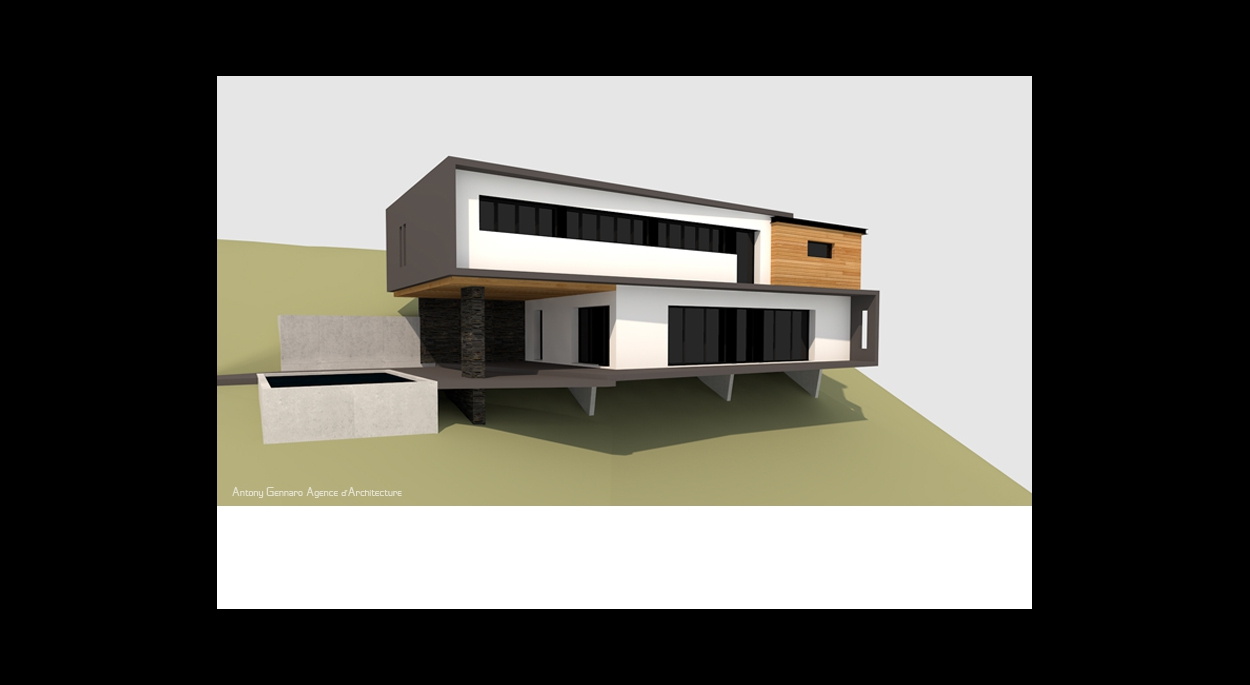 Maison dans la pente, structure bois/béton, toiture plate