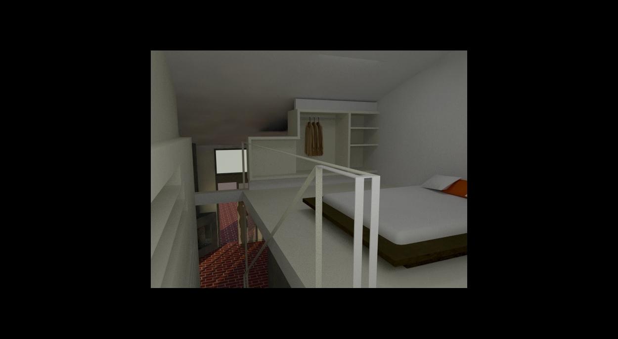Les rangements sont intégrés aux murs, l'escalier bibliothèque qui se retourne en bout de mezzanine est l'élément structurant de cet espace.