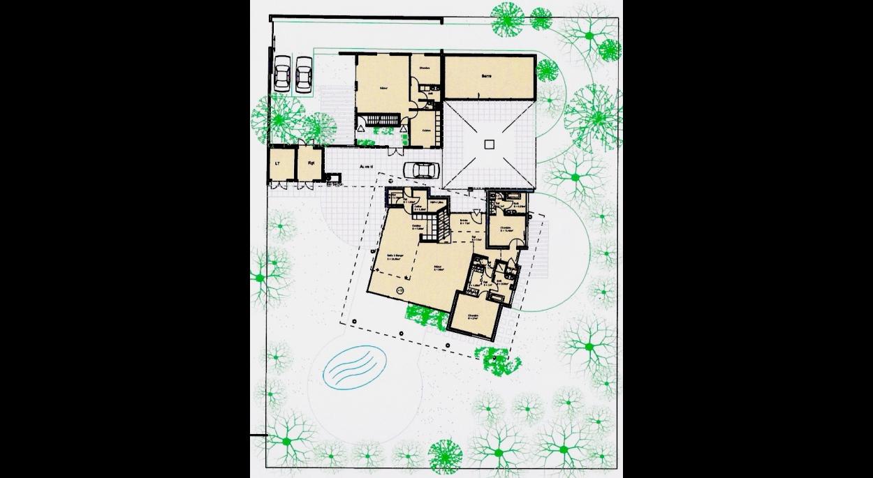 Le plan de rez de chaussée qui dévoile la simplicité du projet.